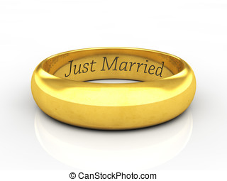 Just married wedding ring - Engraved golden wedding ring on...