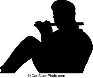 Silhouette of a seated man playing a flute