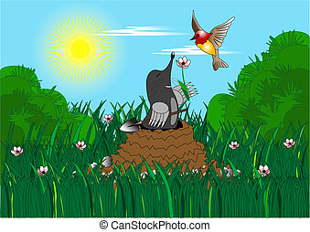Mole with shovel presents flower to bird