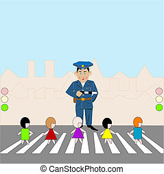 Pedestrian Crossing - Children on pedestrian crossing,...