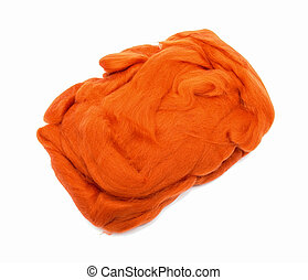 orange wool fiber ball for felting