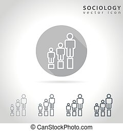Sociology outline icon set, collection of human figure...