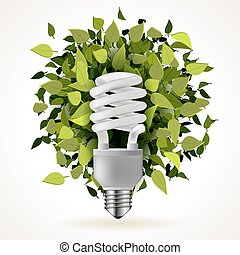 Light energy saving lamp icon with green leaves, abstract...