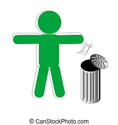 Rubbish - Green symbolic person throws rubbish in basket
