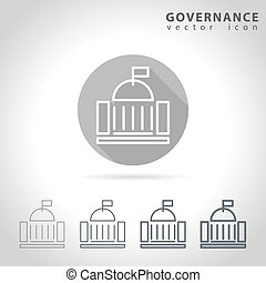 Governance outline icon set, collection of government...