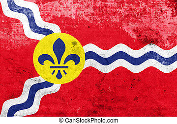 Flag of St Louis, Missouri, with a vintage and old look