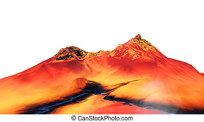3D illustration of surreal jelly mountains