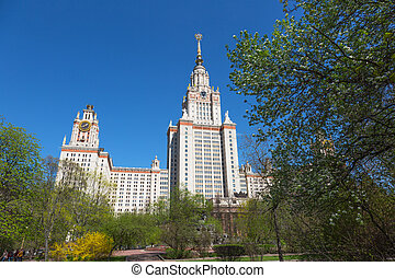 Moscow State University in summer day. Moscow. Russia