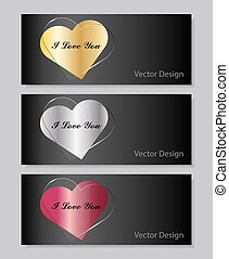 Set of horizontal banners Metal and glass hearts on dark...