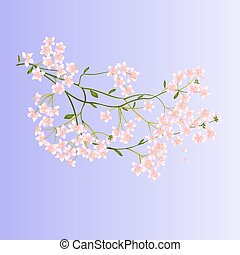 Twig with small flowers vector.eps