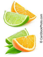 Isolated cut orange and lime - Isolated orange and lime...