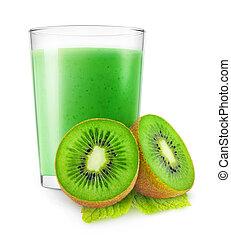Isolated kiwi fruit smoothie - Isolated kiwi smoothie. Glass...