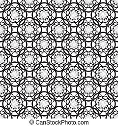 Floral seamless pattern with thin black flowers on a white...