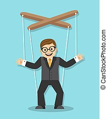 businessman puppet - cheerful businessman does not know what...