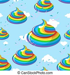 Unicorn shit seamless pattern Turd color rainbow background...