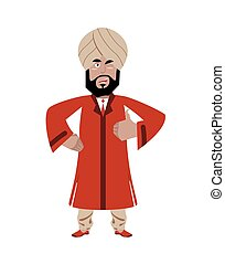 Indian businessman shows well. Indians with beard. Sign all right. Thumbs up. Hand showing ok. Gesture of hand. Man from India in national dress and turban