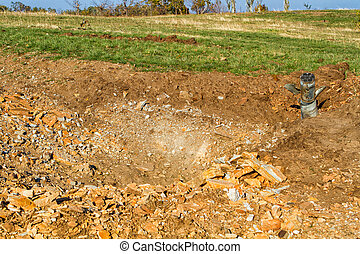 unexploded ordnance from multiple rocket launchers degrees...