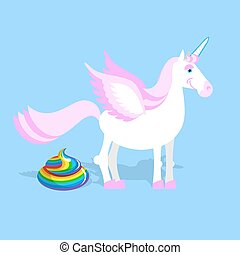 Unicorn pooping color turd. Fantastic animal in sky....