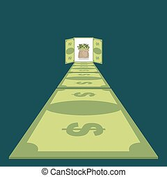 Road of dollars. Path to prosperity. footpath of money. cash bag in end. Money paradise. Wealth. Open door to  luxurious life