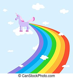 Unicorn pooping rainbows Fantastic animal in sky White...