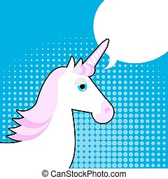 Unicorn in pop art style White fantastic animal with a horn...
