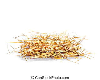 pile straw isolated on white background