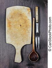 Vintage wooden kitchenware - Vintage empty wooden cutting...