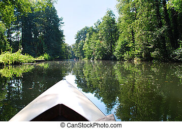 canoeing in spreewald canal - canoeing in the spreewald...