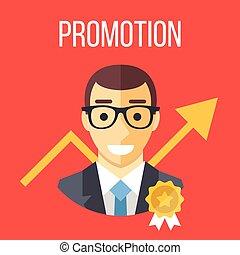Job promotion flat illustration. Career ladder, advance in...
