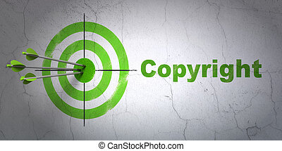 Law concept: target and Copyright on wall background