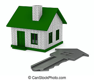 key and house on white background 3D image