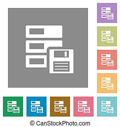 Backup square flat icons - Backup flat icon set on color...
