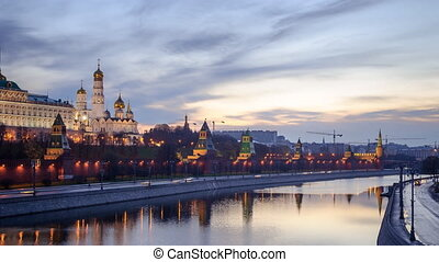 Moscow Kremlin dawn sunrise in Moscow - sunrise in Moscow,...