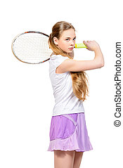 sportswear - Portrait of a girl tennis player in motion...