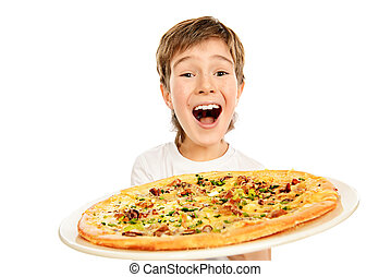 happy pizza - A boy is happy to eat pizza. Fast food....