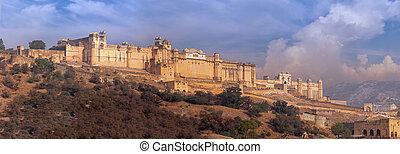 Massive Amer Fortress and Palace near Jaipur, India - Amer...