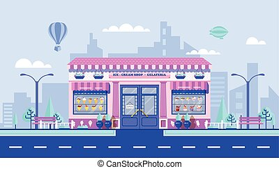 Ice - cream cafe - Stock vector illustration city street...