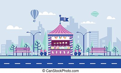 Ice - cream kiosk - Stock vector illustration city street...