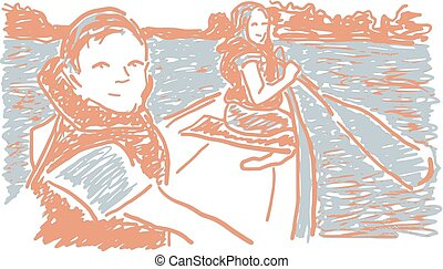 Canoeing children in lake, isolated vector