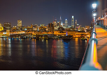Philadelphia from Ben Franklin Bridge - Night view of...