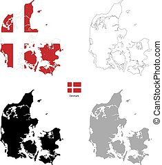 Denmark country black silhouette and with flag on background