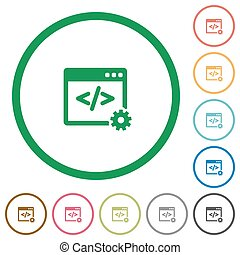 Web development outlined flat icons - Set of Web development...