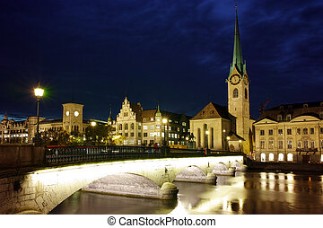 Night photo of Zurich, Switzerland - Night photo of...