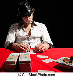 Poker gambler - Young man poker gambler with sneaky face...