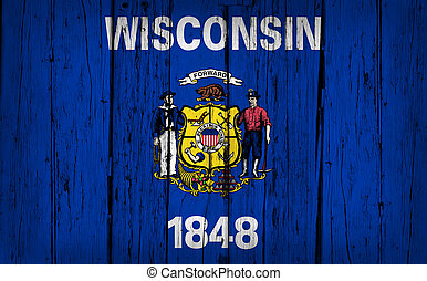 Wisconsin Flag Grunge Wooden Background - Wisconsin state...