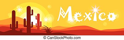 Mexican Sunset Cactus In Desert Banner