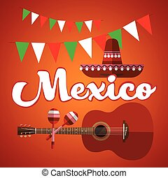 Mexican Traditional Hat Sombrero Maraca Guitar, Mexico Flat...