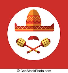 Sombrero Mustache Mexican Traditional Hat Maraca Icon Flat...