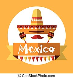 Mexican Traditional Clothes Sombrero Maraca, Mexico National...
