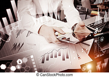 Photo man touching modern tablet screen.Trader manager working new private banking project office.Using electronic device.Graphics icon, worldwide stock exchanges interfaces.Horizontal.Visual effect